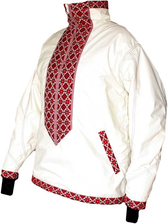 ...мембранная горнолыжная куртка в украинском этническом стиле (белая).